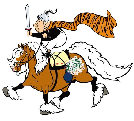 healthy senior man riding the horse and holding a knight sword,cartoon picture isolated on white background,vector illustration Stock Vector - 17130904