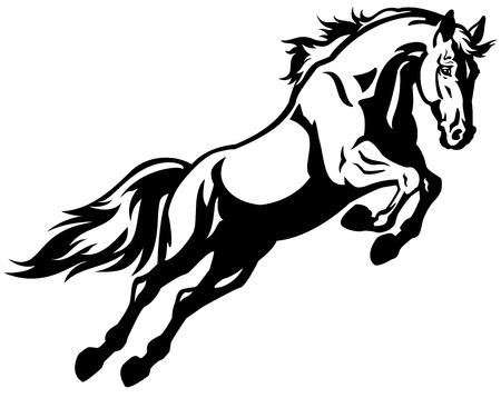 springpaard: springen paard, zwart-wit foto geïsoleerd op witte achtergrond