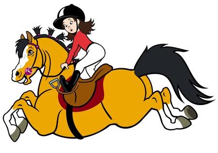 cavallo che salta: ragazza in sella a cavallo, bambini illustrazione
