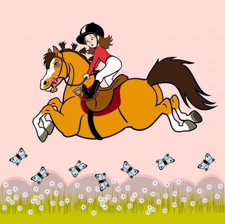 horse stable: girl riding horse ,children illustration on pink background