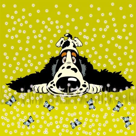 cocker spaniel: cartoon dog spaniel in meadow