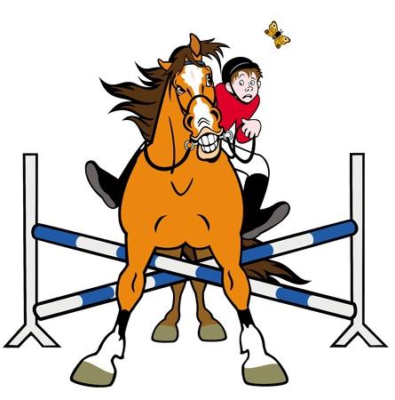 salto de valla: deporte ecuestre, jinete caballo en salto de obst�culos, ilustraci�n de dibujos animados aislado en el fondo blanco