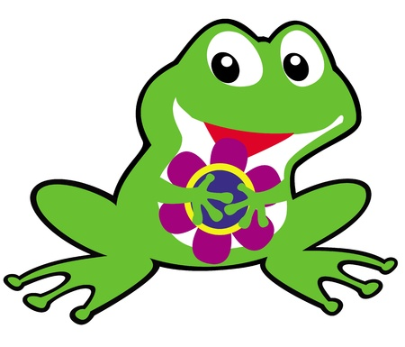 frog illustration: cartoon frog,illustration for baby and little kid,children picture isolated on white background