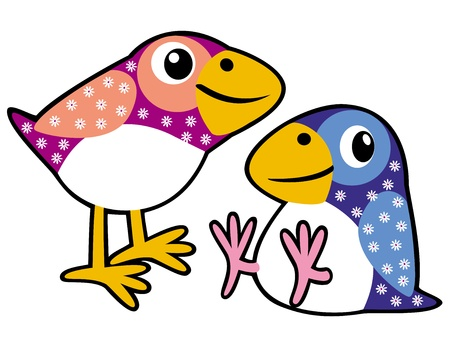 two cartoon birds,picture for babies and little kids,vector illustration isolated on white background Stock Vector - 17249231