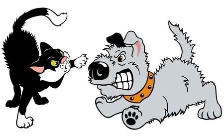 gato y peleas de perros, ilustración de dibujos animados aislado en el fondo blanco, vector imagen