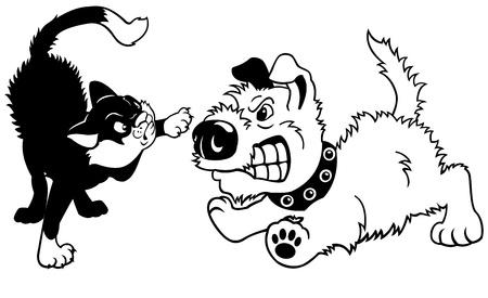 fighting dog: cane e gatto combattimento, fumetto illustrazione isolato su sfondo bianco, nero, immagine vettoriale