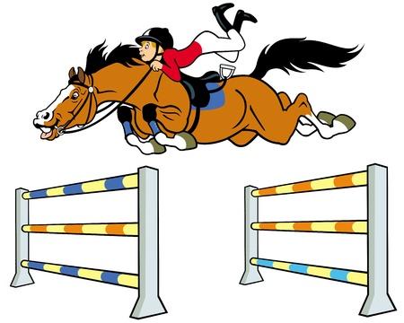 jumping fence: deporte ecuestre, niño con caballo saltando una valla, ilustración de dibujos animados aislado en el fondo blanco