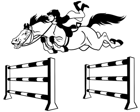 obstacles: kid with horse jumping a hurdle,equestrian sport,black and white cartoon illustration