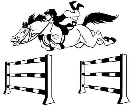 jumping fence: niño con caballo saltando un obstáculo, deporte ecuestre, ilustración de dibujos animados en blanco y negro Vectores