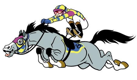 horse racing: derby,equestrian sport,racing horse with jockey,cartoon picture isolated on white background,vector illustration Illustration