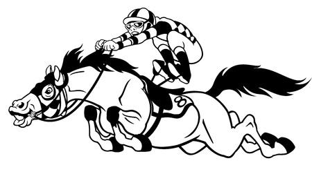 caballo corriendo: derby, ecuestre deporte, las carreras de caballo con jinete, ilustraci�n blanco negro Vectores