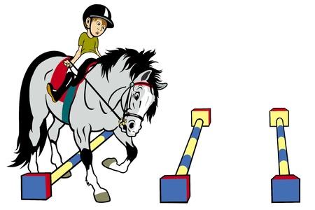 horse sleigh: kid riding hose,cavaletti work,cartoon picture isolated on white background,children illustration