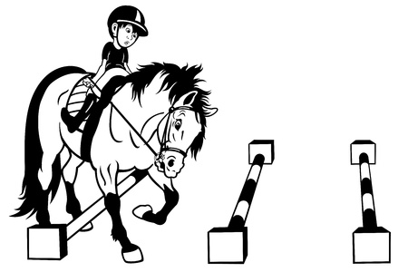 horseback riding: kid riding horse,cavaletti work,black white cartoon picture ,children illustration