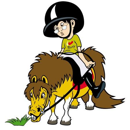 häst ryttare, liten pojke ridning, ridsport, barn illustration Illustration