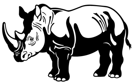 rhinoceros,africa animal,black white picture ,side view illustration Stock Vector - 17624419