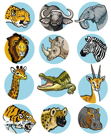 icons set with wild animals of africa Illustration