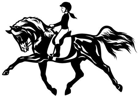 kid riding horse,black and white side view picture Vector