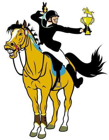 horse stable: rider winner,equestrian sport,cartoon picture isolated on white background