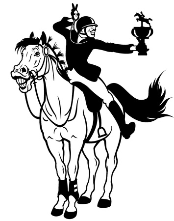 rider winner,equestrian sport,black and white isolated picture Vector
