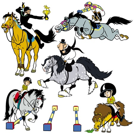 set with cartoon horse riders,equestrian sport,pictures isolated on white background Illustration