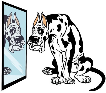great dane harlequin: cartoon doglooking in mirror, great dane breed,picture isolated on white background