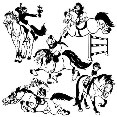 set met cartoon ruiters, paardensport, zwart en wit geïsoleerde foto's