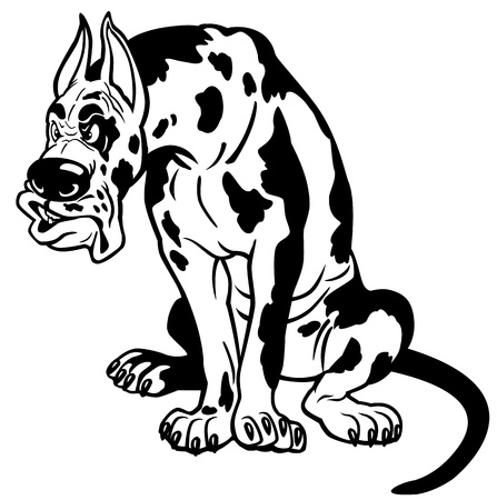 cartoon dog great dane breed Vector