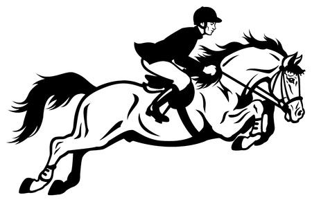 uomo a cavallo: cavallo cavaliere equestre di salto Vettoriali