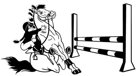 salto de valla: Entrenamiento de la muchacha caballo de salto, deporte ecuestre, imagen de dibujos animados en blanco y negro Vectores
