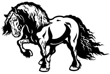 draft horse: draft horse black and white illustration Illustration