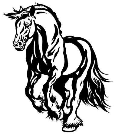running draft horse black and white illustration Illustration
