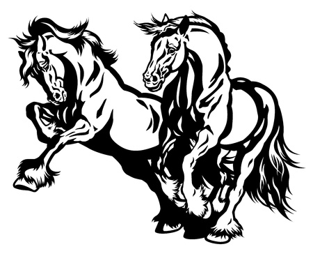 two draft horses black and white illustration