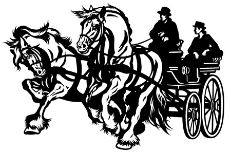 horse carriage: pair horses drawn carriage black and white isolated illustration