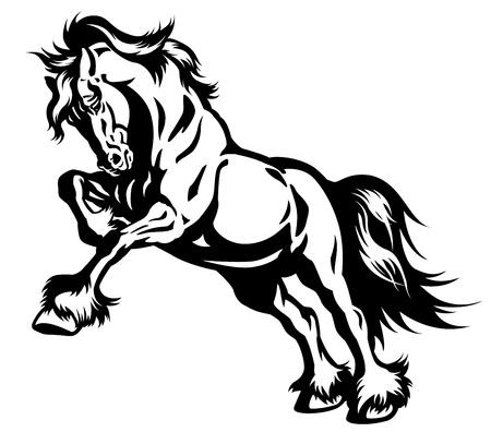 caballo de tiro en movimiento negro y el blanco, ilustración,