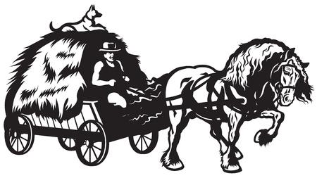 農村馬干し草、黒と白のイラストとカートを引く