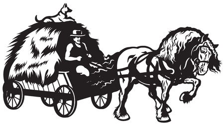 horse drawn carriage: rural horse drawn cart with hay, black and white illustration