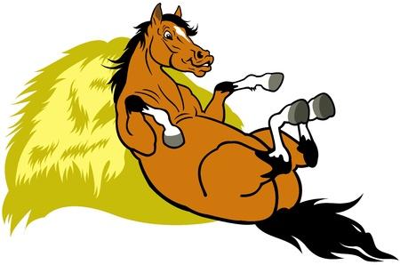 cartoon paard rustend op hooi illustratie geïsoleerd op een witte achtergrond Stock Illustratie