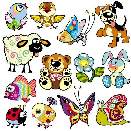 set med tecknade djur och leksaker för bebisar och små barn Illustration