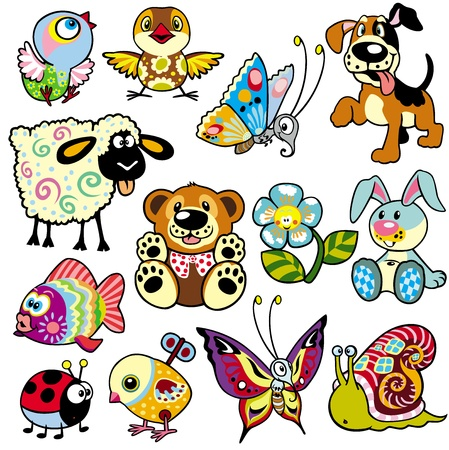set with cartoon animals and toys for babies and little kids Vector