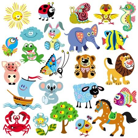 conjunto: gran conjunto de imágenes para los bebés y los niños pequeños, las imágenes simples dibujos animados aislado en el fondo blanco, ilustración infantil Vectores