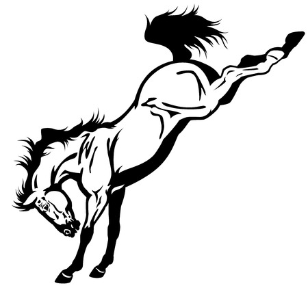 jumping: bucking horse black and white side view illustration