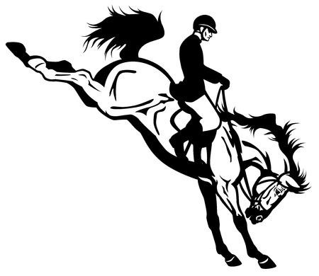 jumping fence: jinete del caballo negro y una vista lateral blanco Ilustración