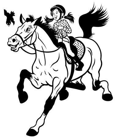 rider: cartoon girl riding horse black and white children illustration