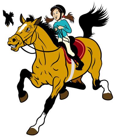 cartoon girl riding horse Children illustration isolated on white background