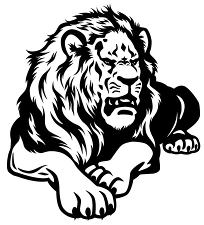 male animal: lion black and white illustration