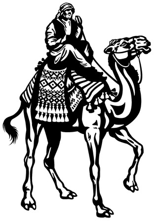 camel rider black and white isolated illustration Vector
