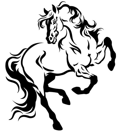 rearing: horse tattoo black and white illustration