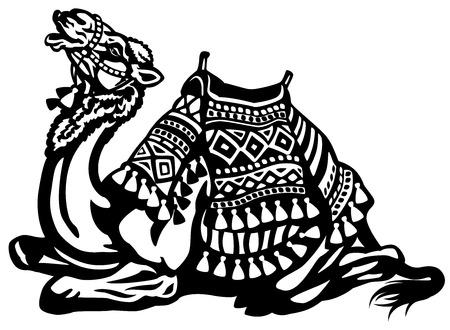 saddle camel: lying camel with saddle black and white illustration