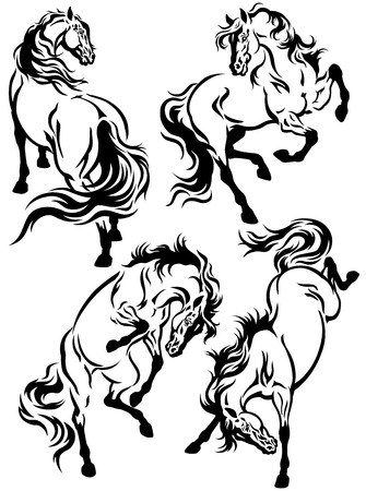 equine: set of horse tattoo ,black and white illustration