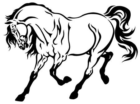 trotting: horse tattoo black and white illustration